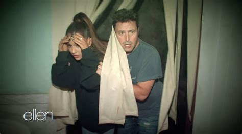 haunted house while pregnant ariana grande can t keep her cool in ellen degeneres haunted house e news