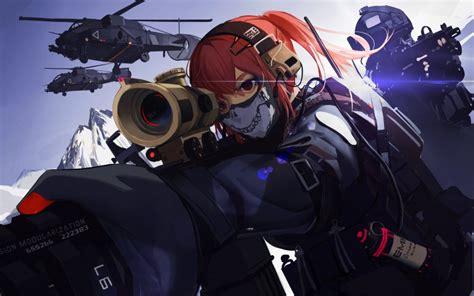 desktop wallpaper anime girl military mask redhead girl