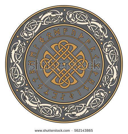 viking pattern vector viking shield decorated scandinavian pattern dragons stock