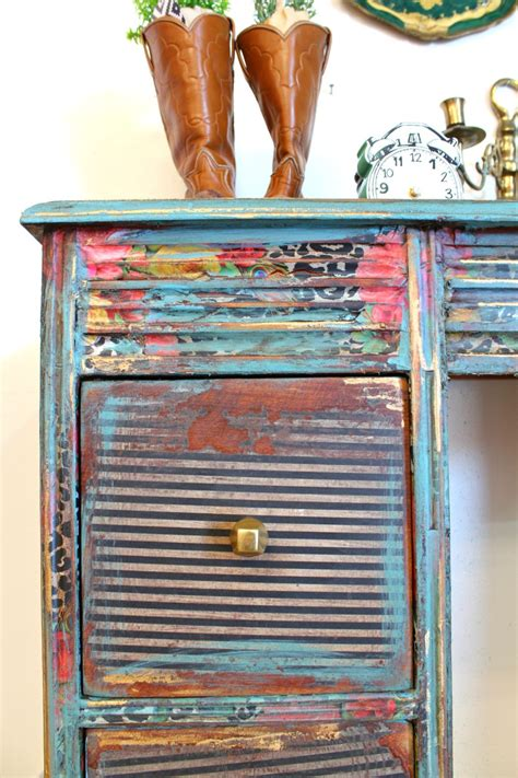 How To Decoupage Furniture With Paper - how to decoupage a desk refunk my junk