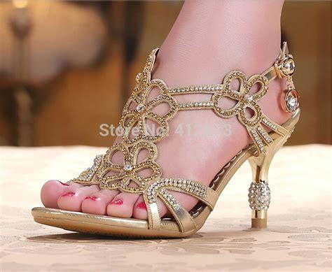 braut sandalen gold blue sandal floral crystal rhinestones women lady