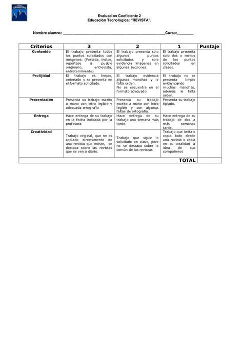 rubrica para evaluar proyectos de reciclado rubrica proyecto revista coef2 4 basico