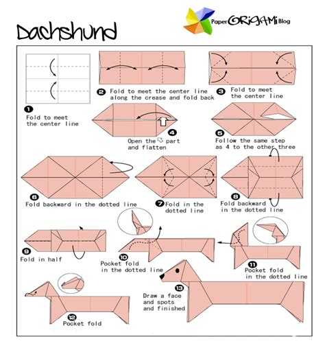 Origami Weiner - animals origami dachshund paper origami guide