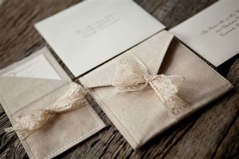 lace wedding invitations with pockets linen and lace pocket fold wedding invitations by blueenvelope