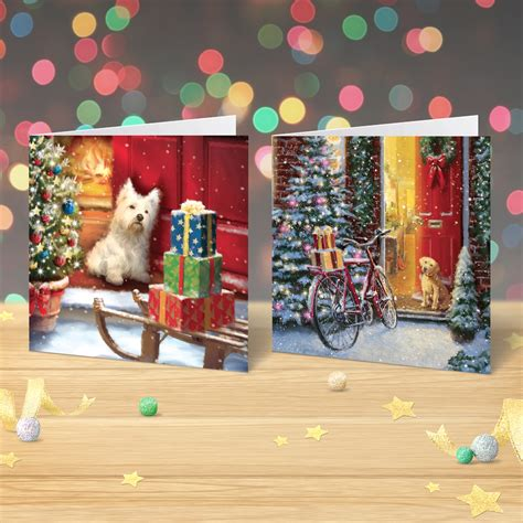 Gift Card Charity - charity christmas cards x 12 cute christmas dogs garlanna greeting cards