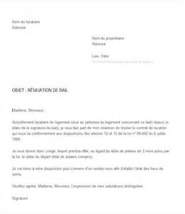 lettre type gratuite pour r 233 siliation de bail