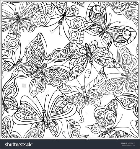 butterflies coloring book for adults books pattern butterflies coloring book stock vector