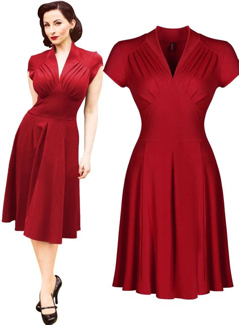 Vintage Dress Hq 2 s vintage style retro 1940s shirtwaist flared evening tea dress swing skaters gown