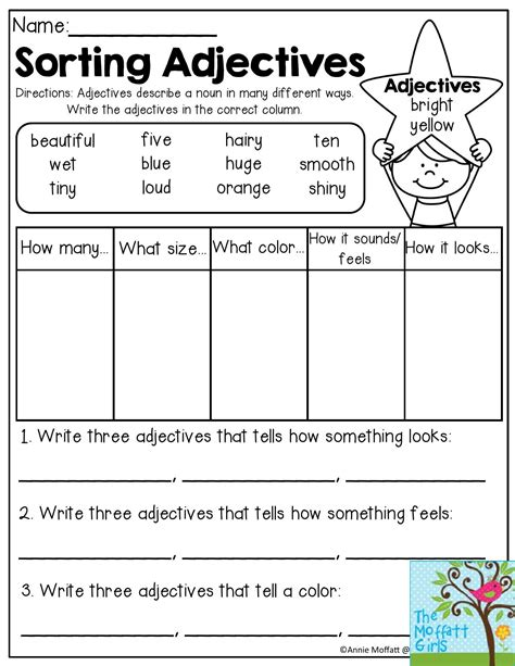 Grammar Worksheets For 2nd Grade by Sorting Adjectives Adjectives Describe A Noun In Many