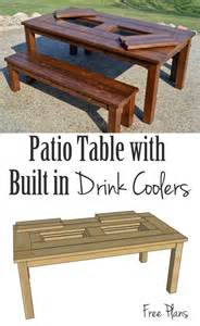 Patio Table Plans Free by Remodelaholic Building Plans Patio Table With Built In Drink Coolers