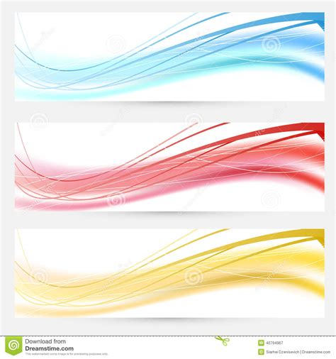 header design red set of bright abstract wave lines cards stock vector