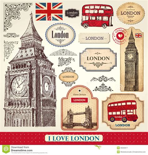 Photography Wall Stickers set of london symbols stock vector image of clock