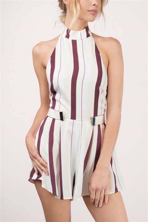 black white halter backless stripe white halter stripe pattern backless romper 030924