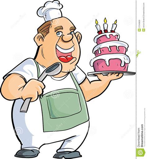 Kitchen Design Program Free Download by Cartoon Baker With A Spoon And Big Cake Royalty Free Stock
