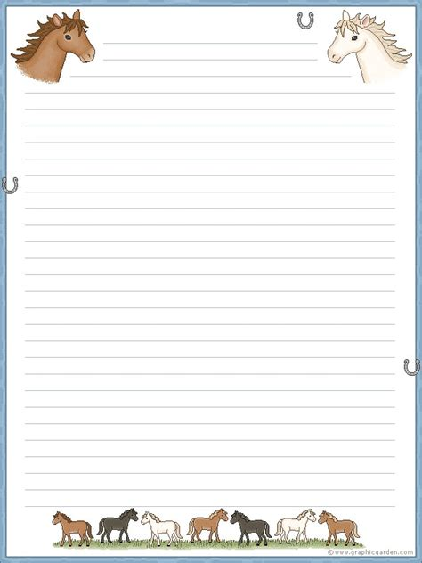 lined paper with horse border horses stationary free printable stationary
