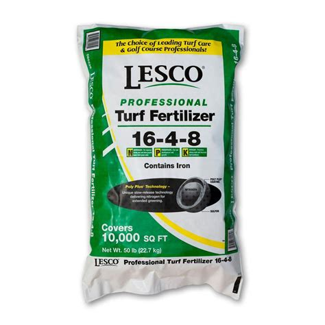 lesco 50 lbs 16 4 8 polyplus fertilizer with iron 80225