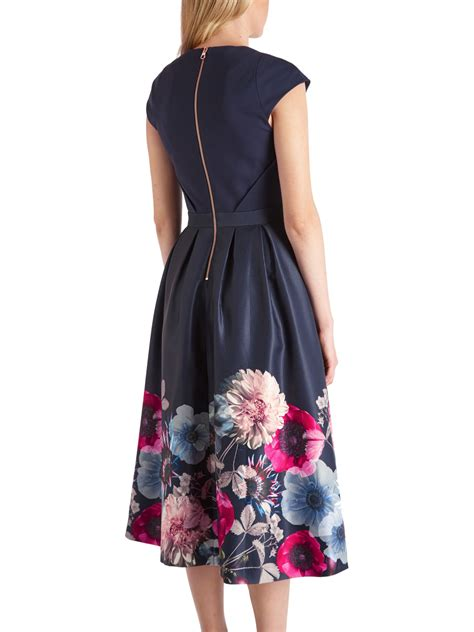 Ted baker Valquir Poppy Print Full Dress in Blue   Lyst