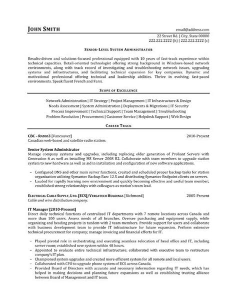 System Administrator Resume Exles by The World S Catalog Of Ideas