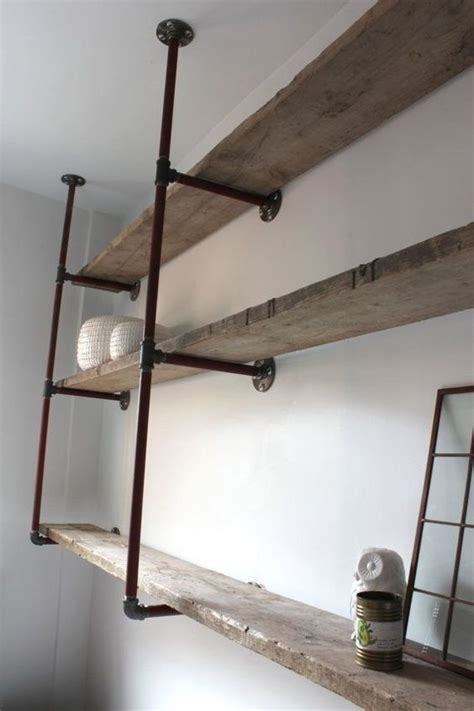 Attach Shelf To Wall by Reclaimed Scaffolding Boards And Steel Pipe Wall Mounted