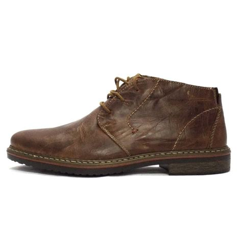 rieker boot laramy brown leather lace up ankle boot