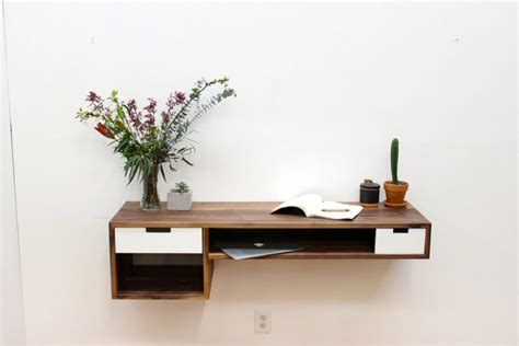 Floating Table by Furniture Modrest Sven White Walnut Floating Console Table Floating Shelf