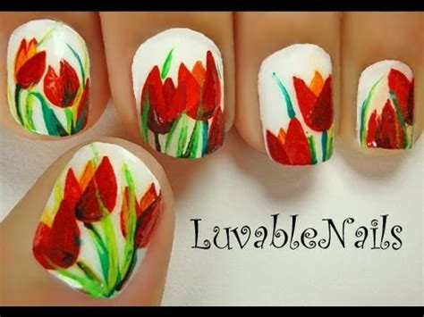 Tulip Flower Nail Art Youtube | tulips flowers nail art april showers bring may flowers