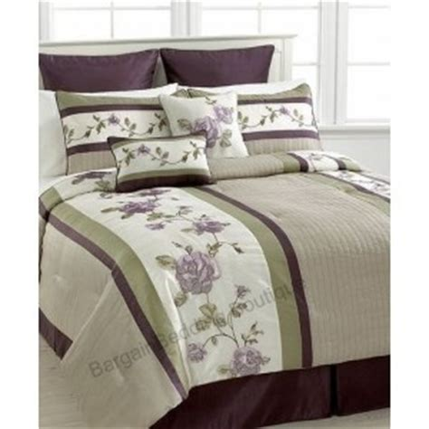 Purple And Green Bedding Sets Rosemont 8 Pc Comforter Set Green Purple Eggplant Ivory Embroidered Ebay
