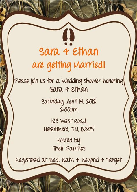 Mossy Oak Baby Shower Invitations by Camo Wedding Shower Invitation Camo Wedding Invitations