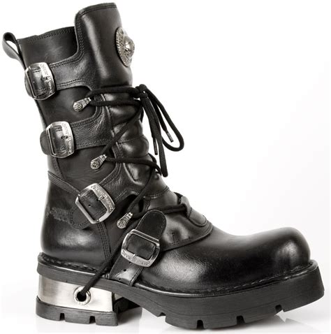 new rock boots m 373 s1 new rock black leather boots with silver