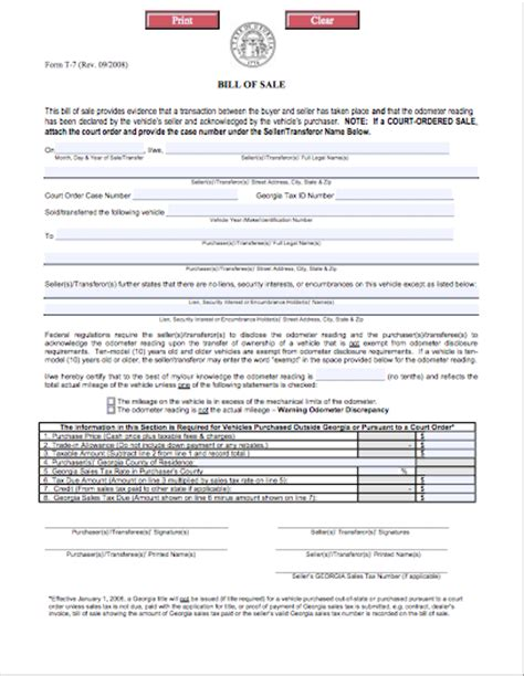 Texas Buying Selling Autos Bill Of Sale Template Ga