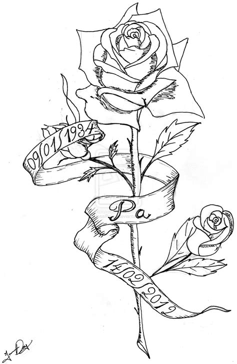 rose ribbon tattoo designs collection of 25 with name banner design