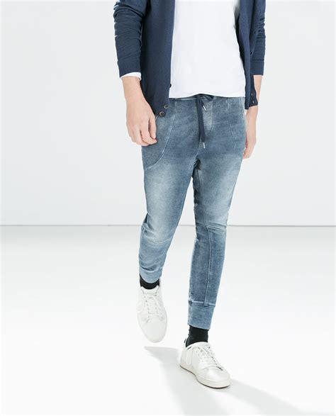 Joggerpant Zara Denim zara terrycloth in blue for lyst
