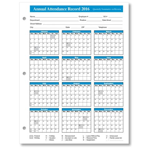 hr calendar template search results for printable employee attendance tracker