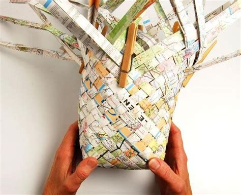 How To Make A Paper Woven Basket - diy tutorial diy weaving diy woven map basket
