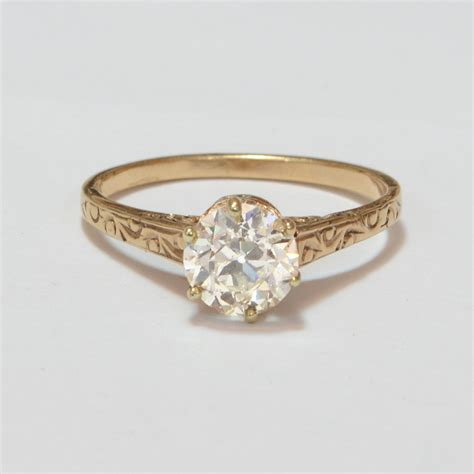 antique engagement ring 10k gold with by sitfinejewelry