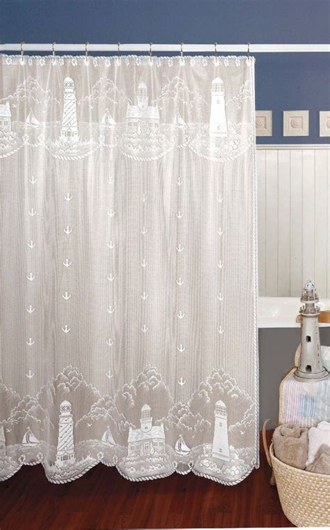 nautical bathroom window curtains white heritage lace lighthouse nautical shower curtain
