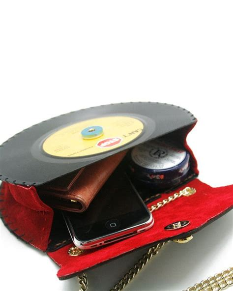 Tas Modipla Poshbag Brown Yama 7 quot lp retro stylish record handbag shoulder bag upcycled