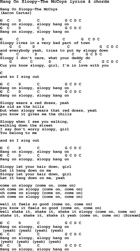 song on song lyrics for hang on sloopy the mccoys with chords
