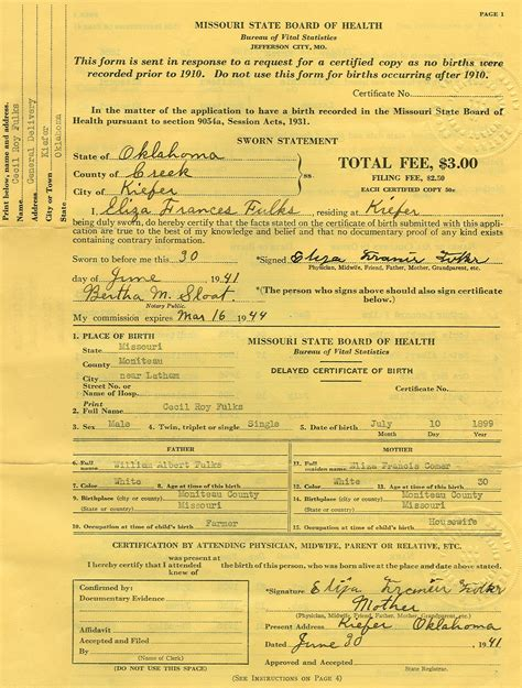 Missouri Birth Certificate Records Rdfulks Genealogy For Acy Andrew Fulks