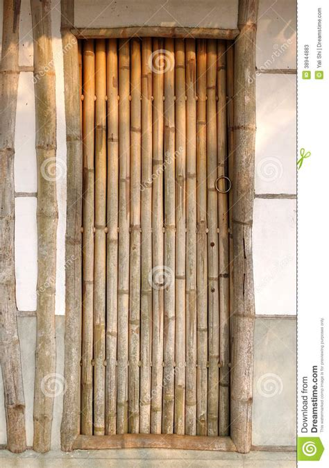 Bamboo Door by Traditional House With Bamboo Door Stock Photo