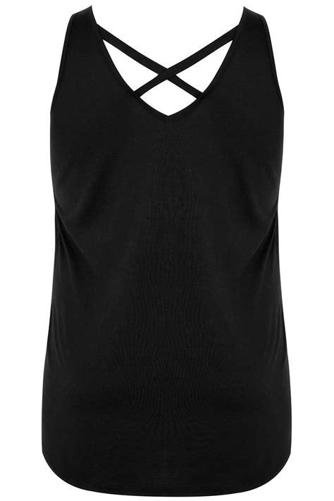 Vest 16 Black black v neck vest top with cross back detail plus size 16