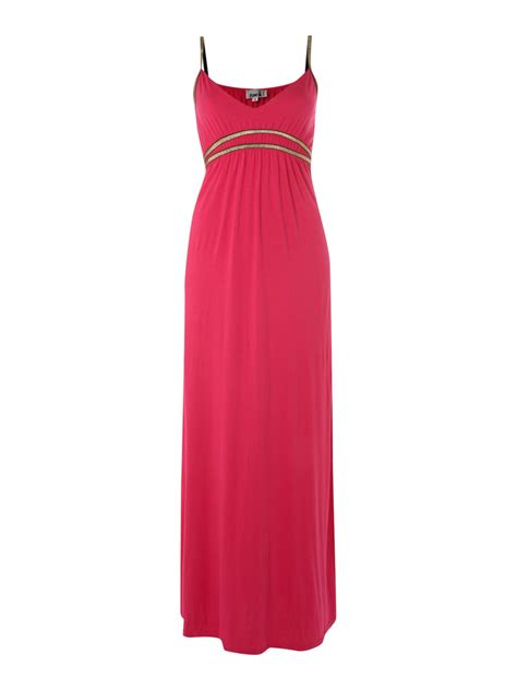 Maxi Pink zack maxi dress with gold straps in pink lyst