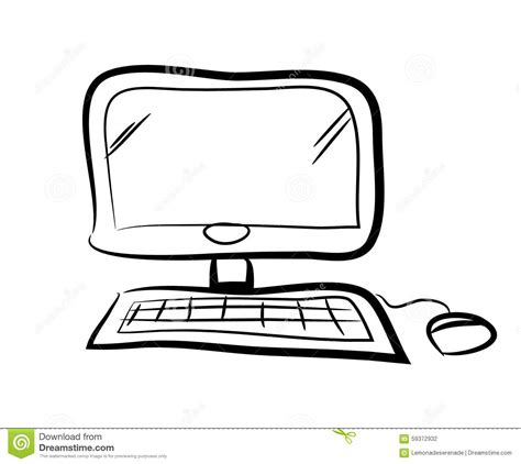 Computer Doodle Stock Vector Image 59372932