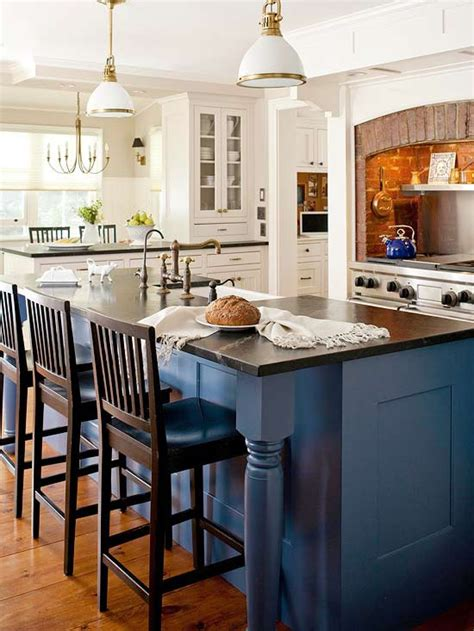 blue kitchen island how to infuse color into the kitchen