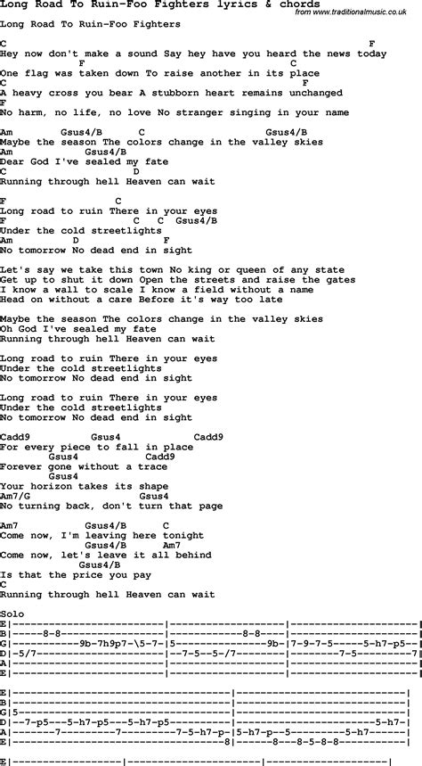 fighter testo song lyrics for road to ruin foo fighters with