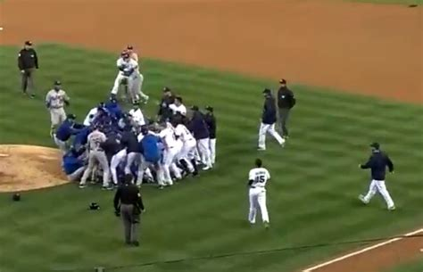 bench clearing brawl dodgers padres brawl leaves pitcher zack greinke with a broken collarbone video