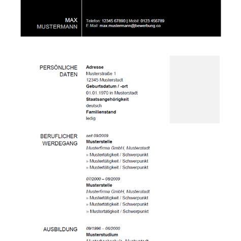 Bewerbungsvorlagen Modern Musterlebenslauf Schwarz Tabellarischer Lebenslauf