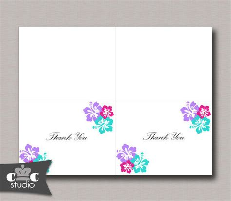printable thank you cards foldable hibiscus flower thank you card diy from crownedcreations