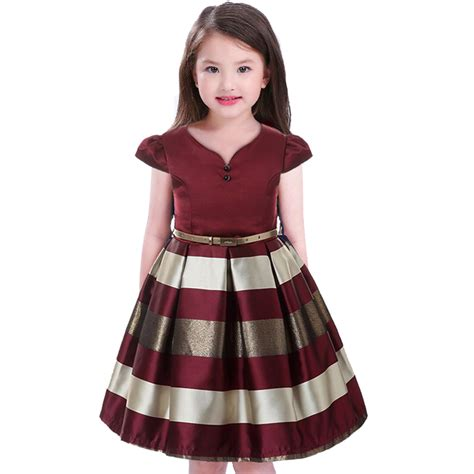 Dres Mitun mitun semi dress children stripe belt 2pcs princess dress 2017 wedding