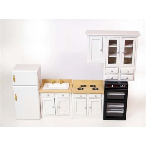 White Kitchen Set Furniture New Dolls House Miniature Pine White Kitchen Cooker